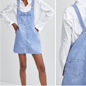 Zara Skirt Overalls Denim Size Medium Distressed